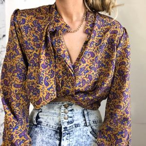 Vintage Silky Patterned Tie Blouse